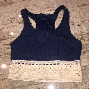 Navy blue with crochet crop top